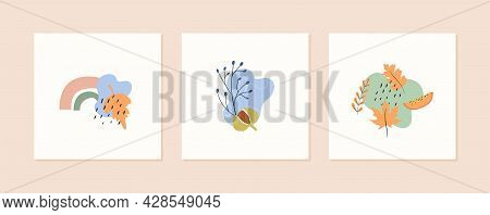 Set Of Autumn Mood Abstract Square Card Templates With Forest Branches, Berries, Rainbow, Leaves And