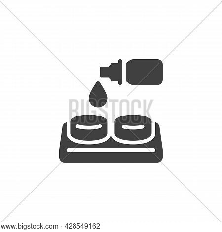 Eye Lens Dropper Vector Icon. Filled Flat Sign For Mobile Concept And Web Design. Contact Lens Glyph