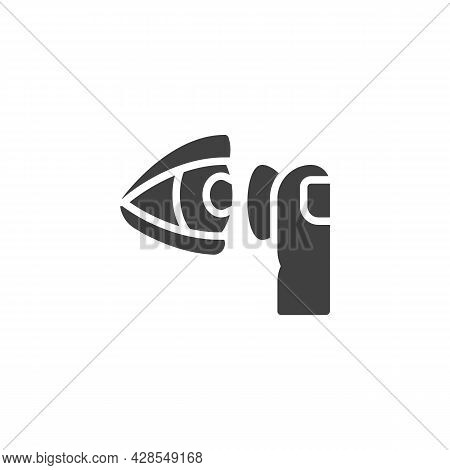 Putting Contact Lens Into Eye Vector Icon. Filled Flat Sign For Mobile Concept And Web Design. Eye L