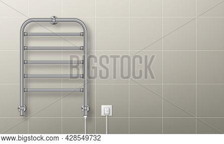 Towel Heater Rail Warmer, Plugged In Coil Dryer Hang On Tiled Bathroom Wall. Metal Chrome Radiator W