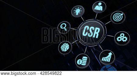 Internet, Business, Technology And Network Concept. Csr Abbreviation, Modern Technology Concept. 3d
