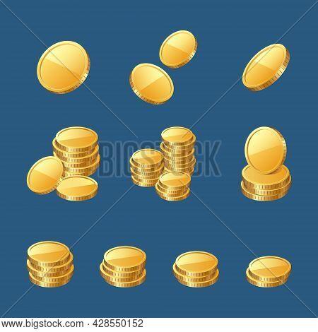 Golden Coins, Gold Or Cash Money 3d Icons. Prize, Win Ui Elements, Wealth, Profit Or Finance Success