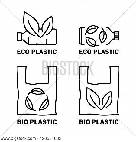 Plastic Bag And Bottle With Leaf Icon. Biodegradable, Compostable And Bio Plastic. Eco Friendly Comp