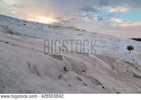 Pamukkale, Turkey - 1 June, 2021: These Are The Famous Slopes Covered With Natural Terraces Of Limes