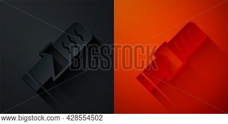 Paper Cut Protein Sport Bar Icon Isolated On Black And Red Background. Energy Snack Icon. Organic Sw