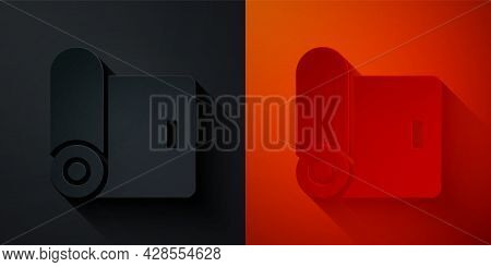 Paper Cut Fitness Mat Roll Icon Isolated On Black And Red Background. Yoga Mat Rolled. Sport Equipme