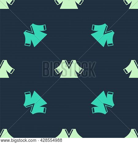 Green And Beige Kimono Icon Isolated Seamless Pattern On Blue Background. Chinese, Japanese, Korean,