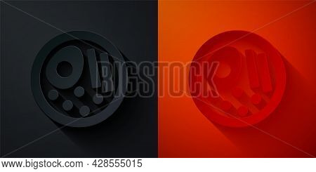 Paper Cut Ramen Soup Bowl With Noodles Icon Isolated On Black And Red Background. Bowl Of Traditiona