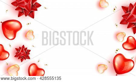 Heart Air Balloons And Confetti Copy Space Vector. Flying Helium Inflated Decoration In Heart Shape