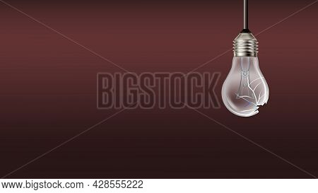 Damaged Burned Out Light Bulb Copy Space Vector. Crashed Electrical Lightbulb With Wire Filament Han