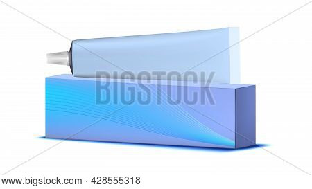 Toothpaste Blank Tube And Box Packaging Vector. Mouth Tooth Brush Toothpaste Container And Package.