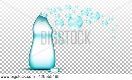 Universal Cleaner Blank Bottle And Bubbles Vector. Detergent Cleaning Substance For Washing Clothes