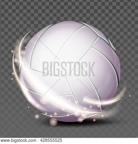 Volleyball Ball Team Sportive Accessory Vector. Volleyball Player Play Leather Tool For Hit On Sandy