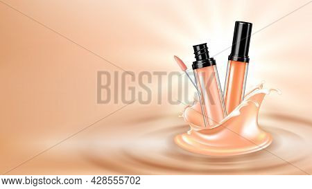 Concealer Face Skincare Cosmetic Copy Space Vector. Facial Skin Care Concealer Cosmetic Fashion Prod