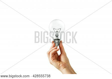 Business Idea Concept : Hand Holding Light Bulb On White Background. (clipping Path)