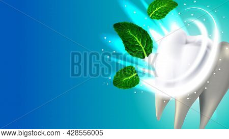 Tooth And Natural Aroma Mint Leaf Copyspace Vector. White Healthy Tooth And Sparkle, Medical Clinic