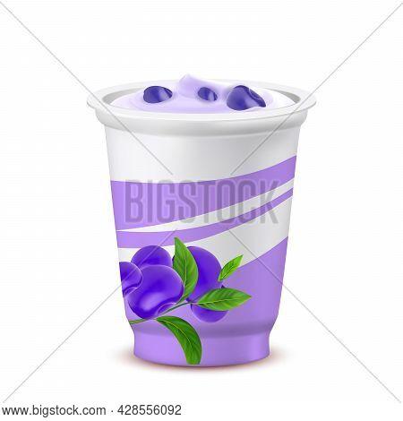 Yoghurt Dessert Blank Cup With Blueberry Vector. Yoghurt Diet Milk Meal With Natural Organic Blackbe