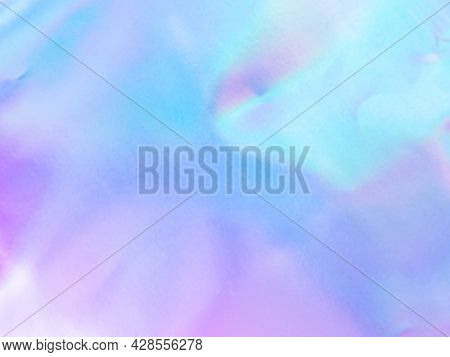 Beautiful Holographic Rainbow Abstract Background In Pastel And Neon Color Design. Real Photography