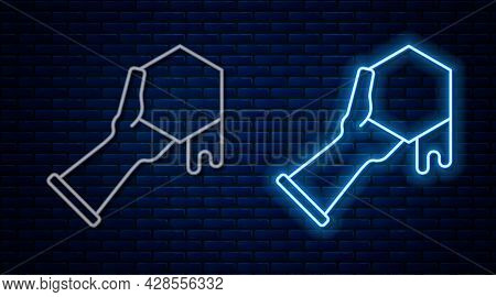 Glowing Neon Line Honeycomb And Hand Icon Isolated On Brick Wall Background. Honey Cells Symbol. Swe
