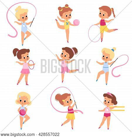 Girls Gymnastics. Little Athletes In Different Poses, Kids Make Aerobics And Sports, Young Artists W