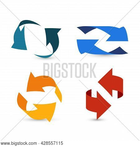 Colorful Arrows 3d. Arrow Info Symbols, Two Swirl Pointers Or Cursors In Round Form, Circular Path U