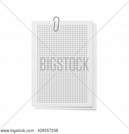 Realistic Sheets With Holder And Clip. Mockup Memo. White Copybook Blank Checkered Notebook Paper Op