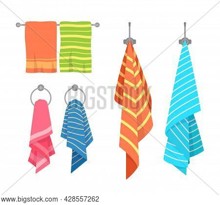Towel Cartoon. Kitchen And Bath Hanging Towels Collection. Kids And Adult Fabric. Cotton Napkin And
