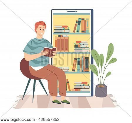 Electronic Library. Young Man Sitting And Reading Digital Book, Bookshelf In Smartphone, Phone Scree