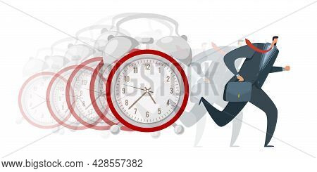 Hurry, Late Arrival. Busy Business Worker Running Away, Huge Alarm Clock, Missing Deadline, Stressed