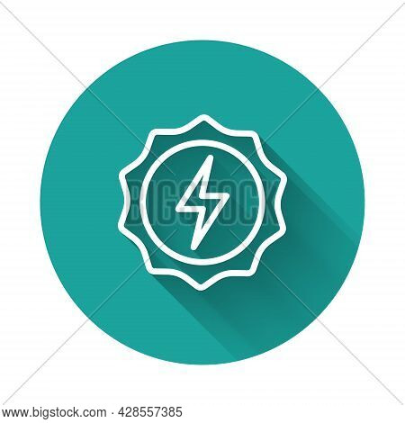 White Line Lightning Bolt Icon Isolated With Long Shadow Background. Flash Sign. Charge Flash Icon.
