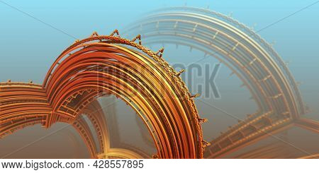 Abstract background, fantastic 3D gold structures, technology remains of an ancient civilization constructions, render illustration.