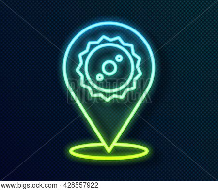 Glowing Neon Line Circular Saw Blade Icon Isolated On Black Background. Saw Wheel. Vector