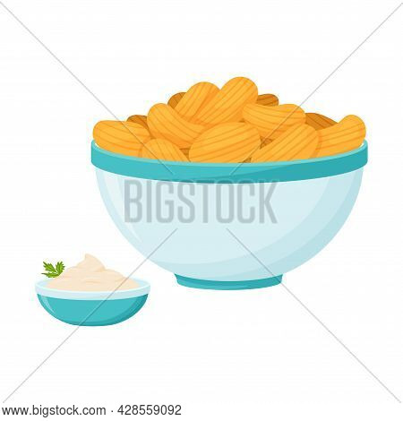 A Blue Bowl With Potato Chips And White Sour Cream Sauce With Herbs. Fast Food, Snack, Bad For Teeth
