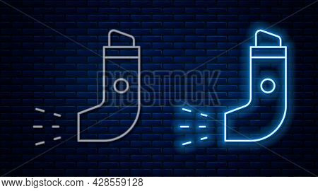 Glowing Neon Line Inhaler Icon Isolated On Brick Wall Background. Breather For Cough Relief, Inhalat