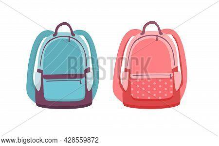School Backpack. Empty Template Mockup Set Of Rucksack. Vector Illustration. Backpack Blue For Boys
