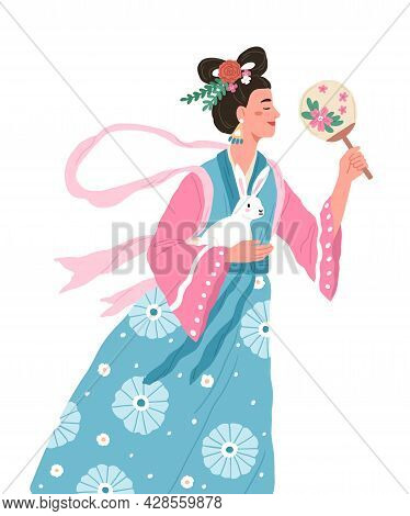 Change, Asian Moon Goddess Of Mid-autumn Festival. Chinese Fairy Woman With Rabbit And Flowers. Fair