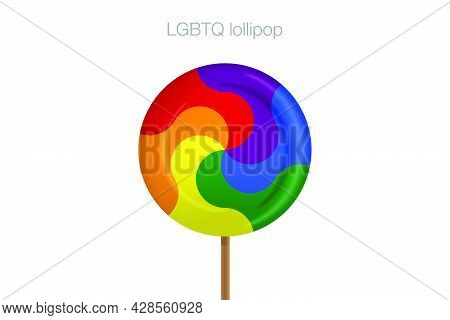 Vector Rainbow Lollipop Candy Isolated On White Background Symbol Color Of Lgbtq Group Candy That Is