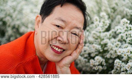 Asian Senior Elderly Happy Woman Smiling Celebrating Christmas H