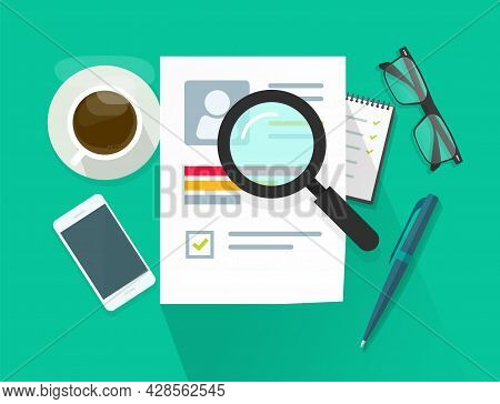 Recruitment Or Employment Research Vector Concept, Flat Cv Report Human Resources, Candidate Skills