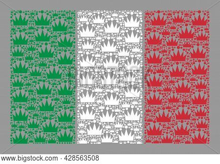 Mosaic Rectangular Italy Flag Created Of Crown Icons. Brand Vector Mosaic Italy Flag Constructed For