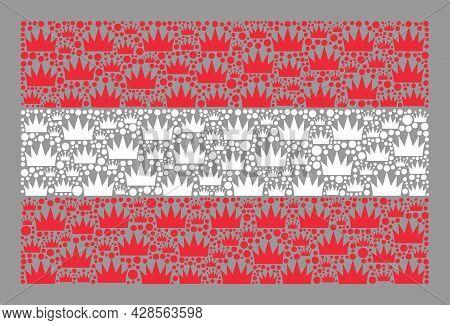 Mosaic Rectangle Austria Flag Designed With Royal Icons. Brand Vector Collage Austria Flag Designed