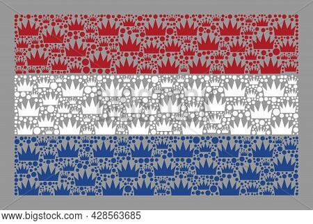 Mosaic Rectangle Netherlands Flag Designed With Crown Items. Royalty Vector Collage Netherlands Flag