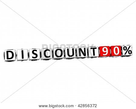 3D Discount 90% Button Click Here Block Text