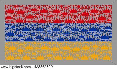 Mosaic Rectangular Armenia Flag Designed Of Royal Items. Royalty Vector Mosaic Armenia Flag Combined