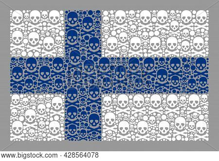 Mosaic Finland Flag Created With Death Icons. Pirate Vector Straight Collage Finland Flag Designed F