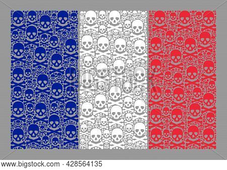 Mosaic France Flag Designed Of Piracy Elements. Mortal Vector Rectangle Collage France Flag Designed