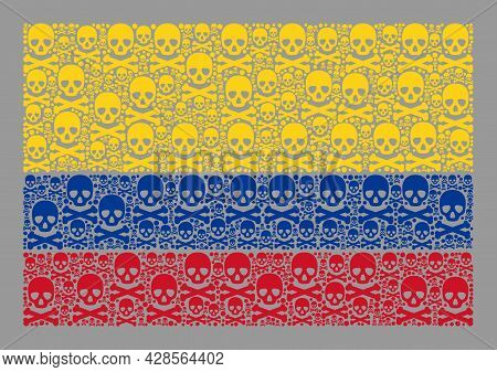 Mosaic Colombia Flag Created With Death Elements. Hazard Vector Straight Collage Colombia Flag Done