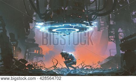Young Woman Destroying By Futuristic Machine, Digital Art Style, Illustration Painting