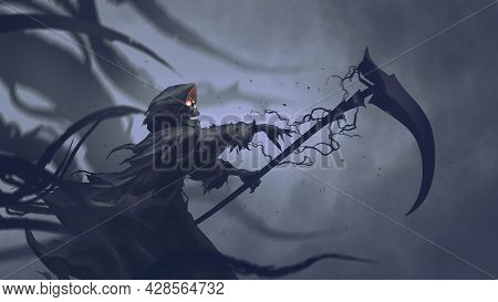 The Death As Know As Grim Reaper Casts Black Magic On The Scythe, Digital Art Style, Illustration Pa