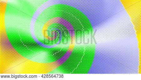 Joyful And Colorful Abstract Technology Background Perforated With Hexs. Energy Multicolored Spiral.